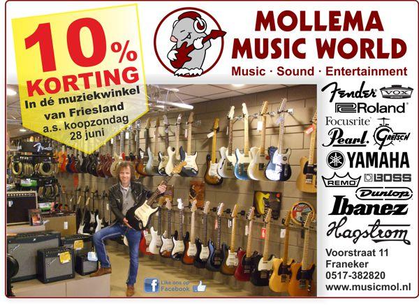 10 procent korting bij Mollema Music World